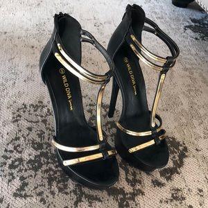 Black and gold platform sandal